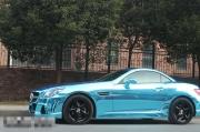 奔驰SLK350汽车改色效果之电镀蓝紫车身贴膜