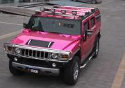 悍马H2全车电镀粉车身改色案例