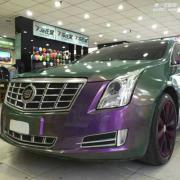 凯迪拉克XTS变色龙之绿变紫车身改色案例