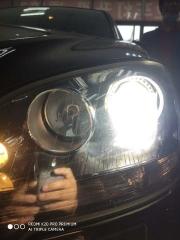 郑州亮晶晶改灯奔驰车灯不够亮改装海拉5透镜欧司朗CBA