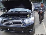 汉兰达2.7黑豪精彩提车装饰侧踏板+保险杠+坐垫+抱枕作业